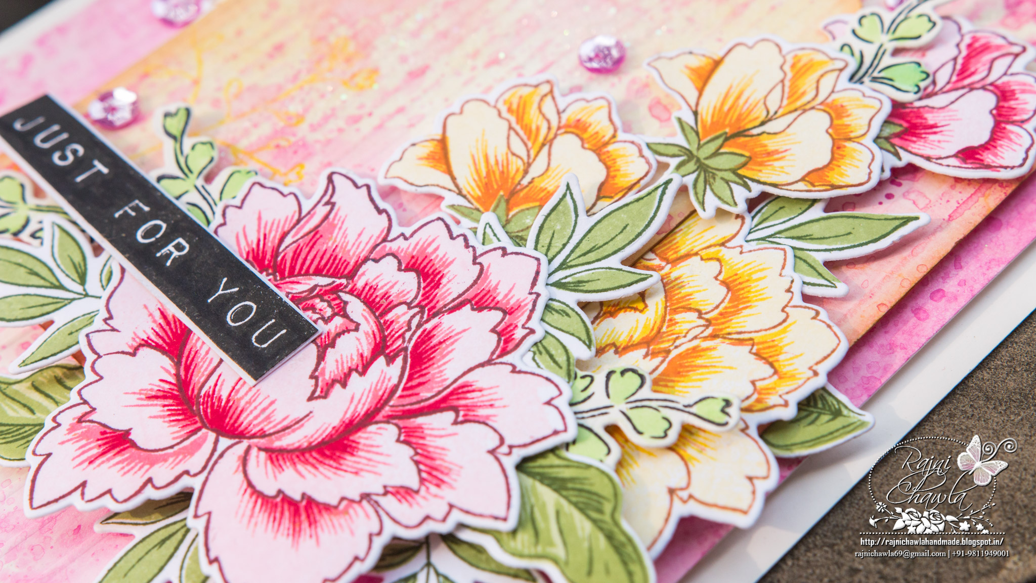 Just For You…a card using Altenew Peony Bouquet Stampset