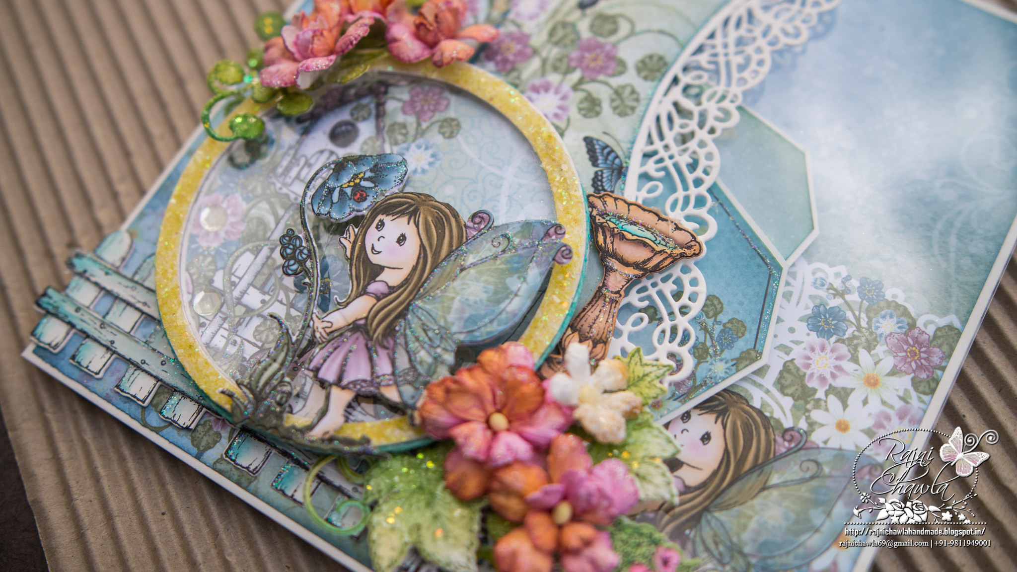 Round window fairy card using Wildwood Cottage Collection by Heartfelt Creations