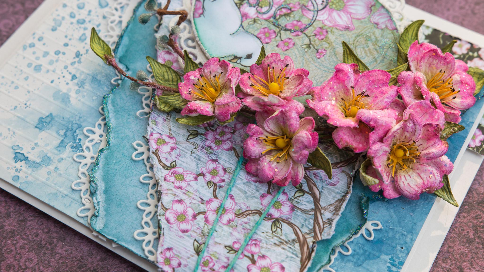 Pink Dogwoods Easter Card ( Heartfelt Creations)