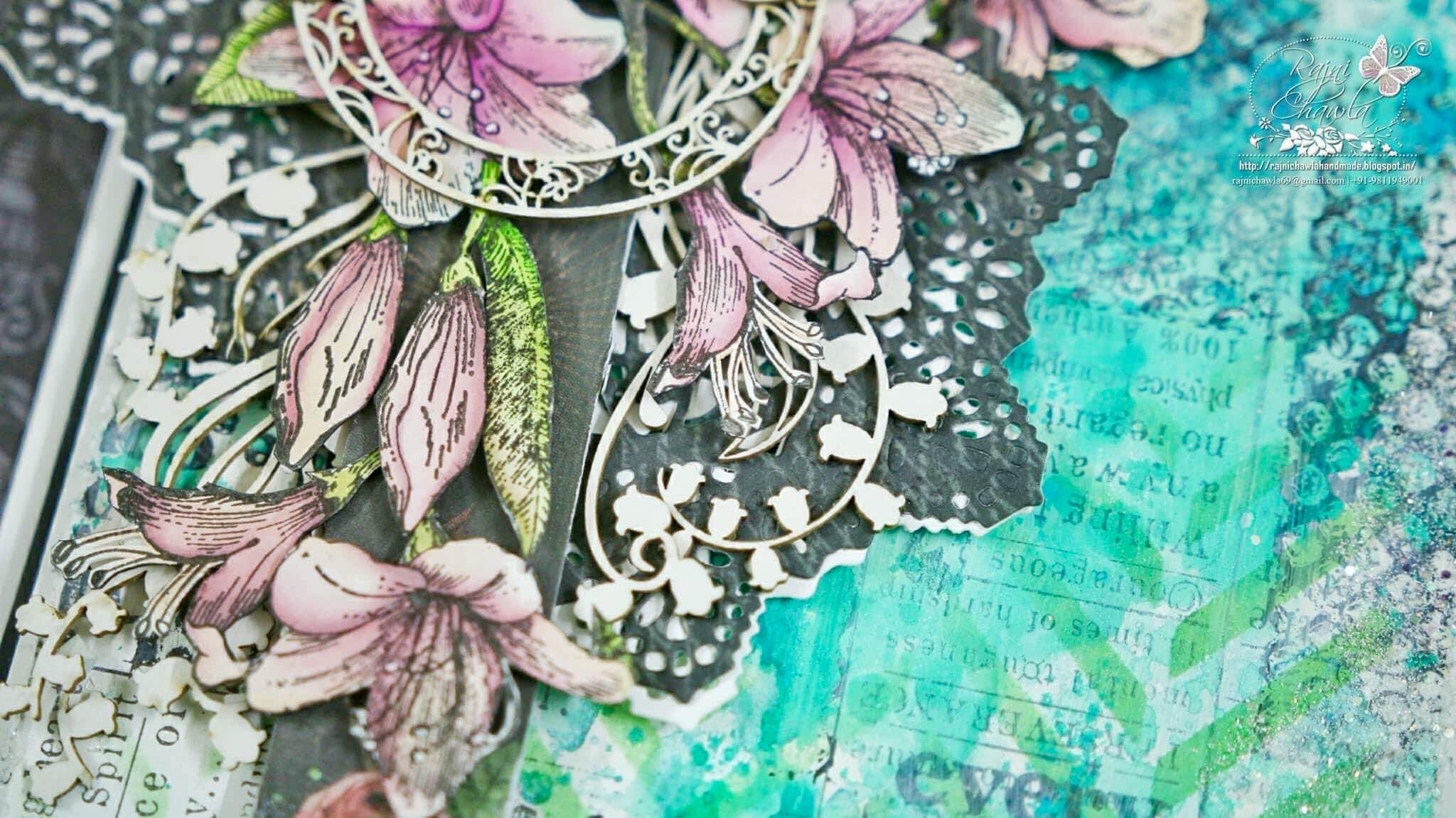 Mix Media Card Using Scrapinic Lilies