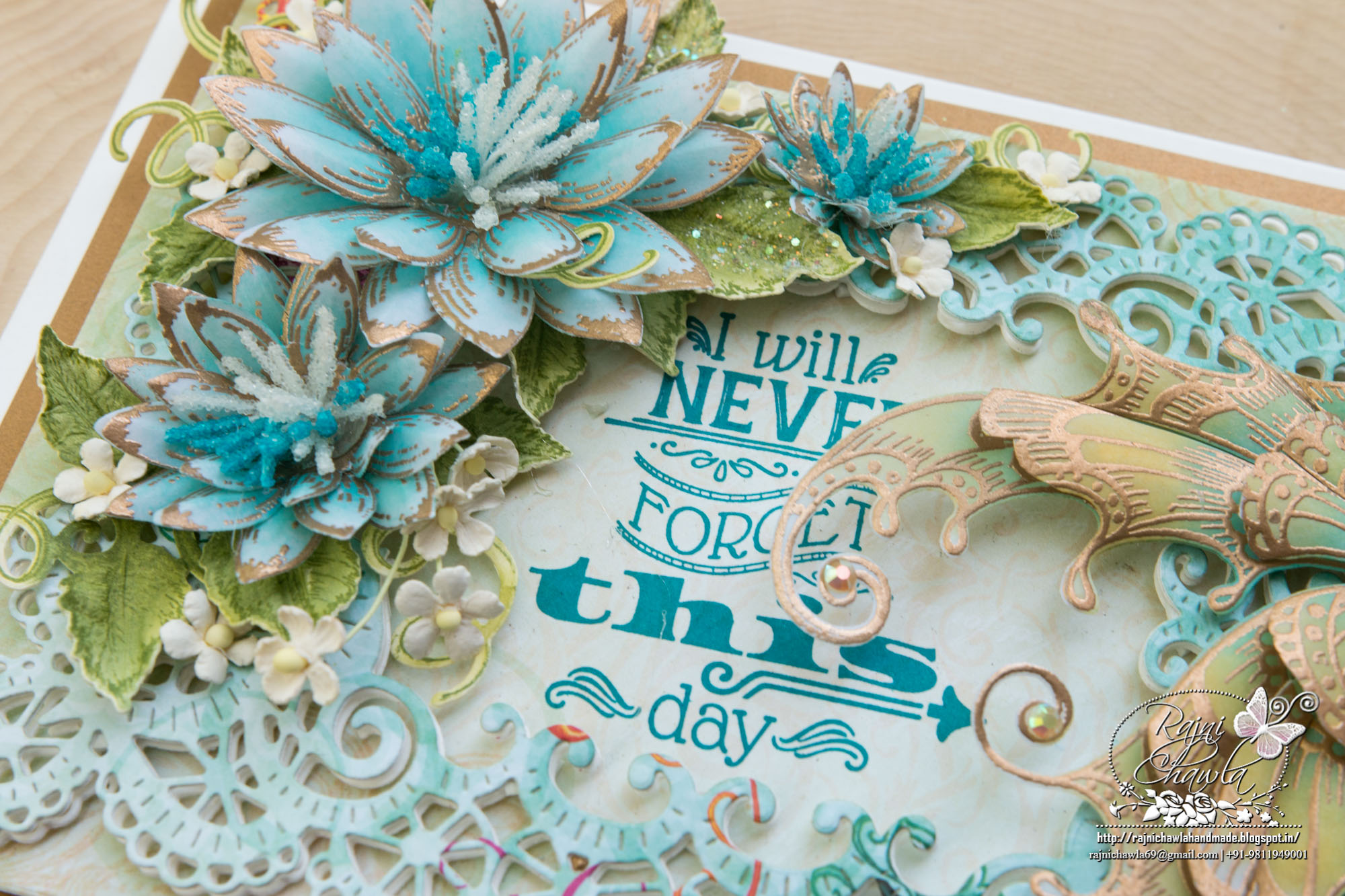 Debuting Frame A Card Dies…Teal and Gold Memories