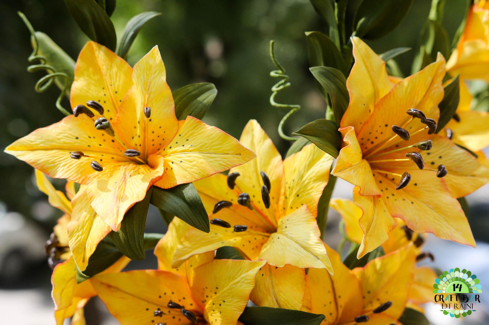 Yellow Foamiran Lilies